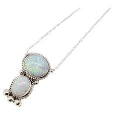 "Sterling Silver Opal Slider Pendant Necklace - 19"""