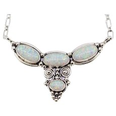 Sterling Silver Opal Fixed Pendant Necklace - Adjustable Size
