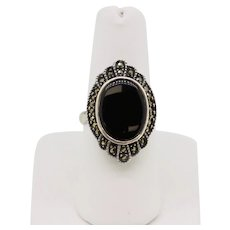Sterling Silver Oval Onyx Marcasite Ring - Size 7
