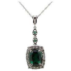 """14k White Gold Green/Clear CZ Pendant on Thin Cable Chain - 18"""""""