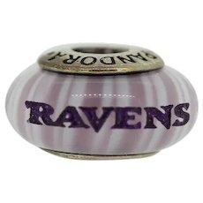 Pandora Murano ALE Sterling Silver Purple Baltimore Raven's Glass Bead