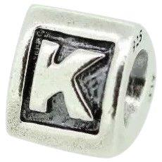 "Pandora ALE Sterling Silver 925 Alphabet Charm ""K"" - 790323K"