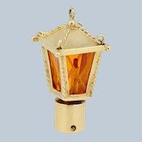 14k Yellow Gold Orange Glass Lantern Pendant