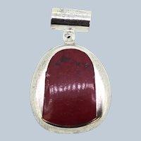 Sterling Silver Freeform Red Stone Slider Pendant