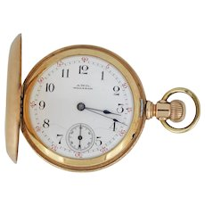 C. 1890 A.W.C. Waltham Size 14 Hunter 14k Gold Case Wristwatch