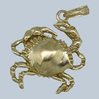 14k Yellow Gold Detailed Crab Pendant