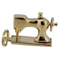 14k Yellow Gold Sewing Machine Pendant