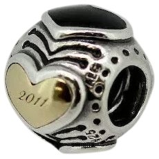 Pandora ALE Sterling 14K 2011 Limited Edition Midnight Hearts Charm 790591EN16