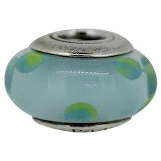Pandora Sterling Teal Murano Glass Polka Dot Charm 790605