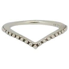 Pandora ALE Sterling Beaded Wishbone Ring - 3.75  196315