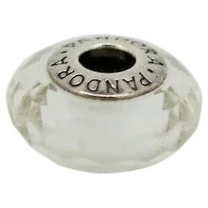 Pandora Retired Sterling White Fascinating Faceted Murano Glass Bead - 791070