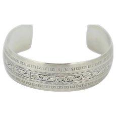 "Danecraft Sterling Silver Etched Design Cuff Bracelet 7.25"""