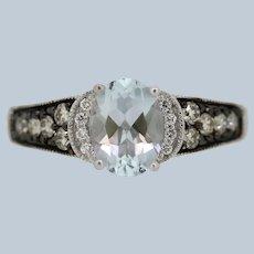 Le Vian 14K White Gold Chocolate/Vanilla Diamond Aquamarine Ring - size 6.75