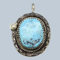 Sterling Silver Etched Design Oval Turquoise Pendant