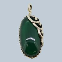 Oval Sterling Silver Cabochon Green Stone Pendant