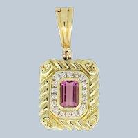 14k Yellow Gold Tourmaline Diamond Pendant
