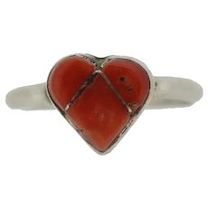 Small Sterling Heart Shaped Coral Inlay Ring - Size 4.5