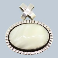 Oval Sterling Silver Cabochon White Stone Pendant