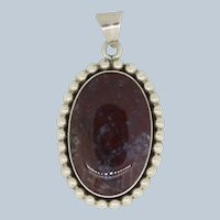 Large Sterling Silver Oval Multicolored Stone Pendant