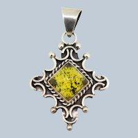 Sterling Silver Square Amber Cross Like Pendant