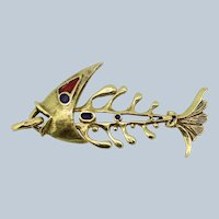 18K Yellow Gold Moving Fish Pendant with Color Inlays
