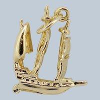 14k Yellow Gold Sail Boat Pendant