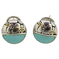 Sterling Silver Floral Turquoise Lever back Stud Earrings