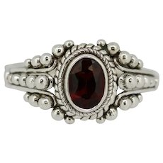Sterling Silver Beaded Design Red Stone Ring - Size 5.5
