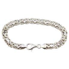 """Sterling Silver Byzantine Link Chain Bracelet - 7.5"""""""