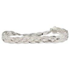 "Sterling Silver Woven Link Chain Bracelet - 7.5"""