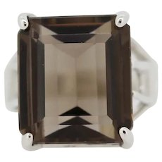 Large Sterling Silver Smoky Quartz Cocktail Ring - Size 9