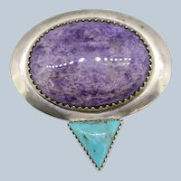 Sterling Silver Oval Purple Triangle Turquoise Pendant