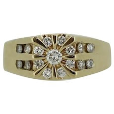 14k Yellow Gold Diamond Star Design Men's Ring - Size 14 3/4