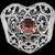 Pandora Sterling January Birthstone Signature Heart Charm Garnet - 791784GR