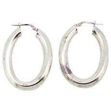 Sterling Silver Oval Tube Hoop Earrings