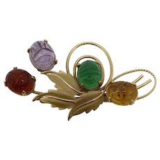 14K Yellow Gold Leaf and Multicolored Scarab Pin Brooch