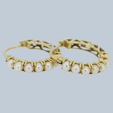 14k Yellow Gold Pearl Huggie Hoop Earrings