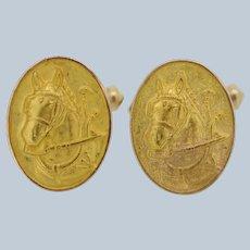 10K Yellow Gold Horse CuffLinks