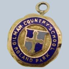 "14k Yellow Gold ""Gilman Country School Roland Park"" Enamel Pendant"