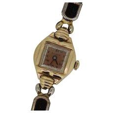 Vintage Bulova Goddess of Time 10k Gold/Stainless Steel 17 Jewels Wristwatch