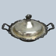 Eton Sheffield Antique Silver Plate Over Copper Serving Dish with Lid -