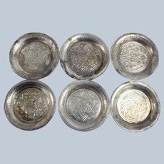 Set of 6 Egyptian Sterling Silver Small Round Dishes 2.5""