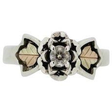 Sterling Silver/12K Tri Color Leaf CZ Ring - Size 9.25