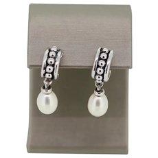 .925 Sterling Silver Pearl Dangle Earrings