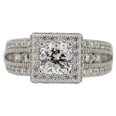 Sterling Silver Halo Round CZ Cluster Ring - Size 8