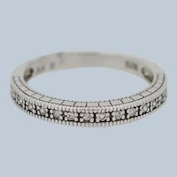 Sterling Silver Round CZ Band Ring - Size 7.75