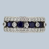 Sterling Silver Blue/Clear CZ Band Ring - Size 7