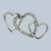 Sterling Silver Triple Heart CZ Slider Pendant