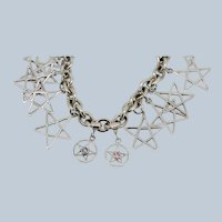 """Sterling Silver Star Charm Cable Bracelet - 7"""""""