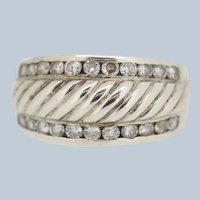 Sterling Silver Ribbed Band CZ Ring - Size 10